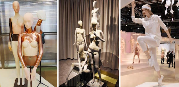 Patchwork, możliwość zmiany sylwetki czy pozorny ruch to tylko niektóre z aktualnych trendów w projektowaniu manekinów. Od lewej: Artezzo, Hans Boodt Mannequins, Genesis Mannequins, fot. mhshowroom